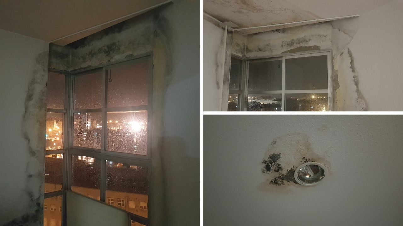 Humedades en la residenciamixta de Pumarín.Estado de las habitaciones en la planta décima, cuya ala norte está cerrada desde hace un año
