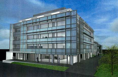Imagen del proyecto constructivo de las fachadas de la sede de Sagrave en la ciudad suiza de Lausanne.