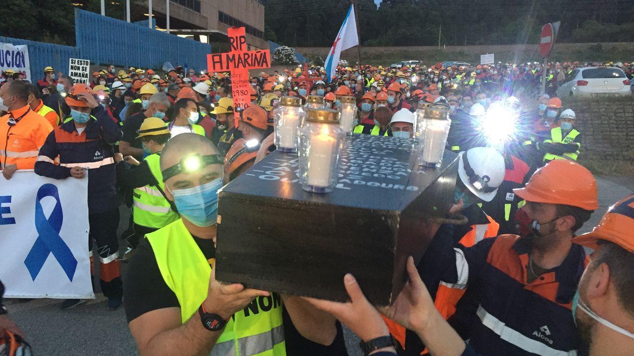 Manifestación Alcoa.Pleno telemático do Concello de Lugo