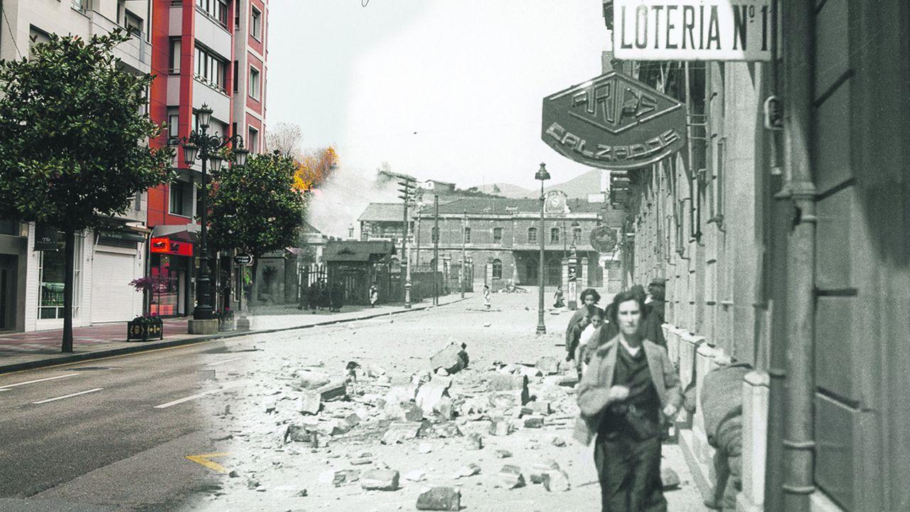 Una imagen de la Estación de Renfe de Oviedo, sobre una foto de la calle en la actualidad