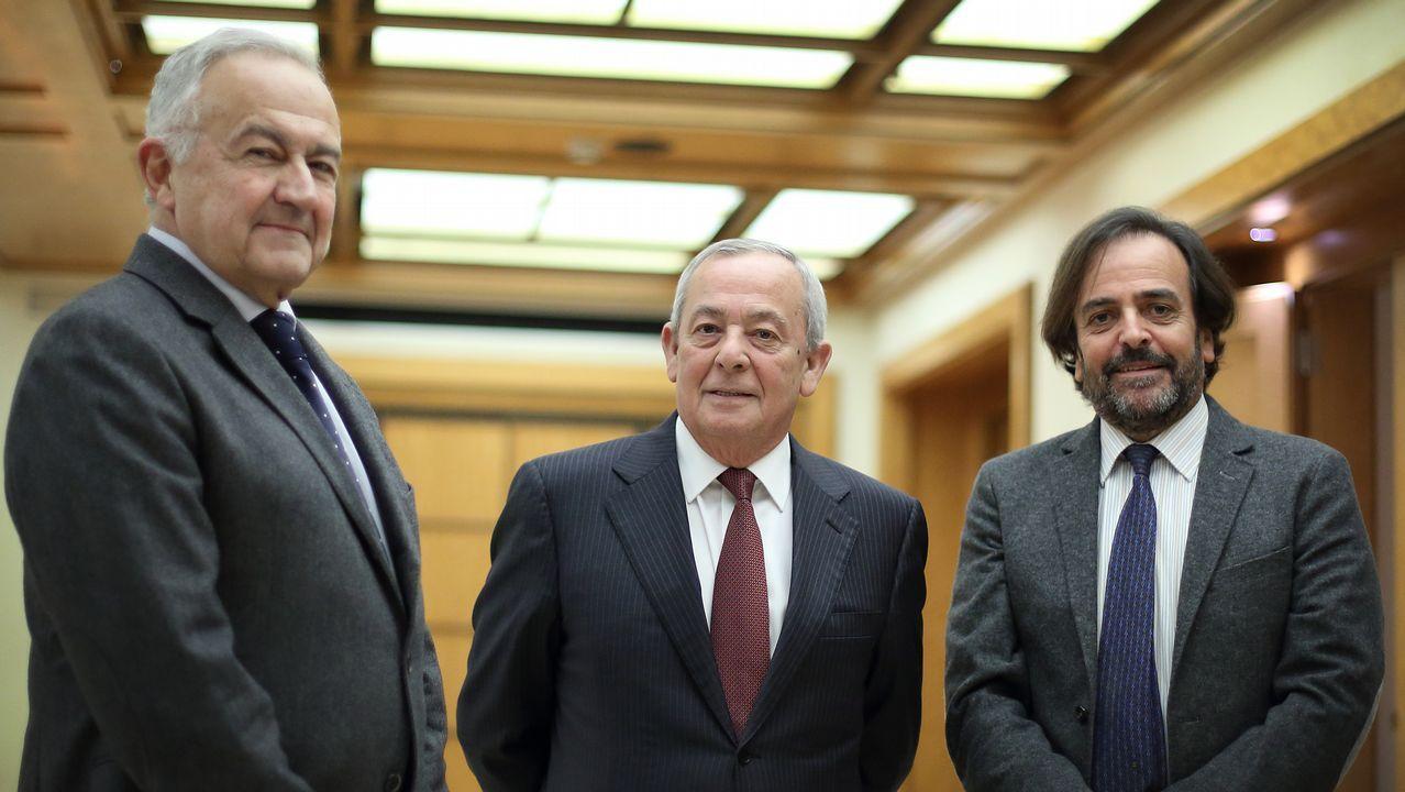 José Luis Méndez Romeu, Carlos Solchaga y Juan Luis Pérez Alvajar