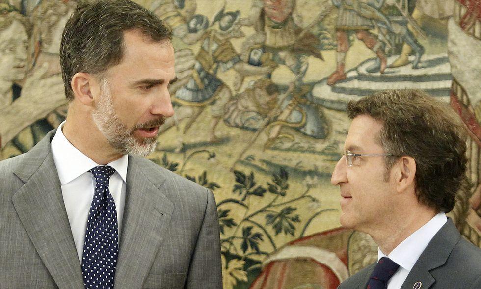 Pedro Sánchez hace una valoración del año 2020.El rey Felipe VI, durante una audiencia con Núñez Feijoo en el palacio de la Zarzuela, en una imagen de archivo.