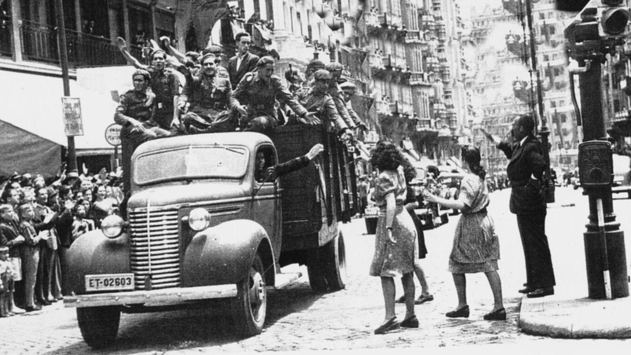 Llegada de soldados de la División Azul a Madrid en 1943