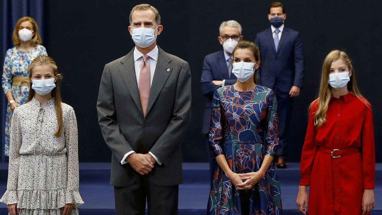 Leonor, Letizia, Felipe VI y Sofía en las audiencias previas.