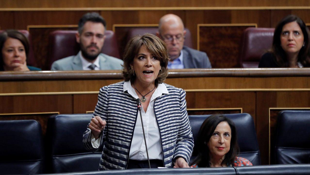 Francisco Serrano (Vox): «La brecha salarial es una gran mentira».La ministra de Justicia, Dolores Delgado, en una de sus intervenciones en el Congreso