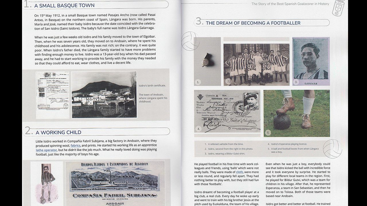 Una doble página del libro biográfico dedicado a Isidro Lángara y redactado en inglés por Miguel Sanz y James Harriman