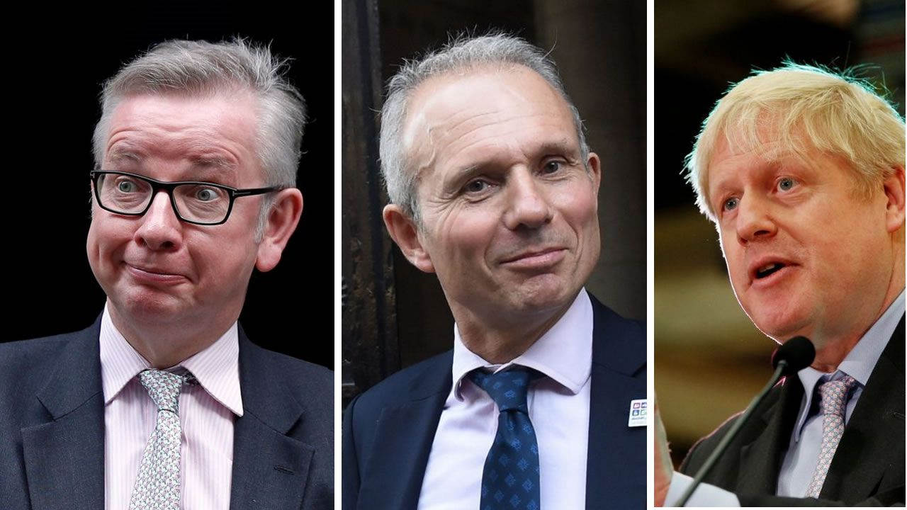 Por orden, David Lidington, Michael Gove y Boris Jonhson