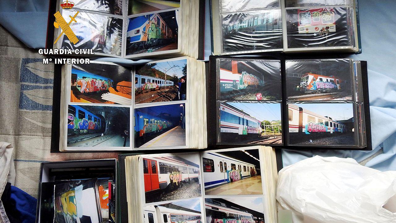 Las imágenes que ha ido dejando el juicio por el crimen de Diana Quer.Diferentes fotografías de vagones de tren pintados con grafitis tras la operación contra estas pintadas en vagones de tren realizados en varios puntos de España y Europa