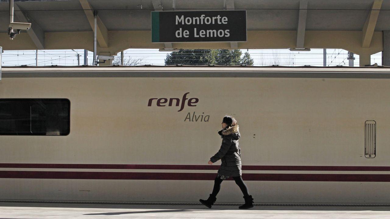 Los vecinos de Seixalbo soportan de madrugada las obras del AVE.Una pasajera camina junto a un tren Alvia detenido en la estación de Monforte, en una imagen de archivo