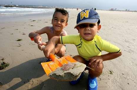 Delfines varados en Baiona Oia y Vigo.Unos niños muestran con su pala un ejemplar de medusa en la playa de A Rapadoira.