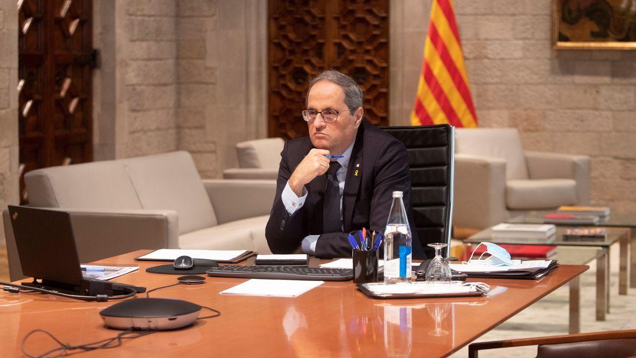 El presidente Quim Torra, este lunes durante una reunión telematica