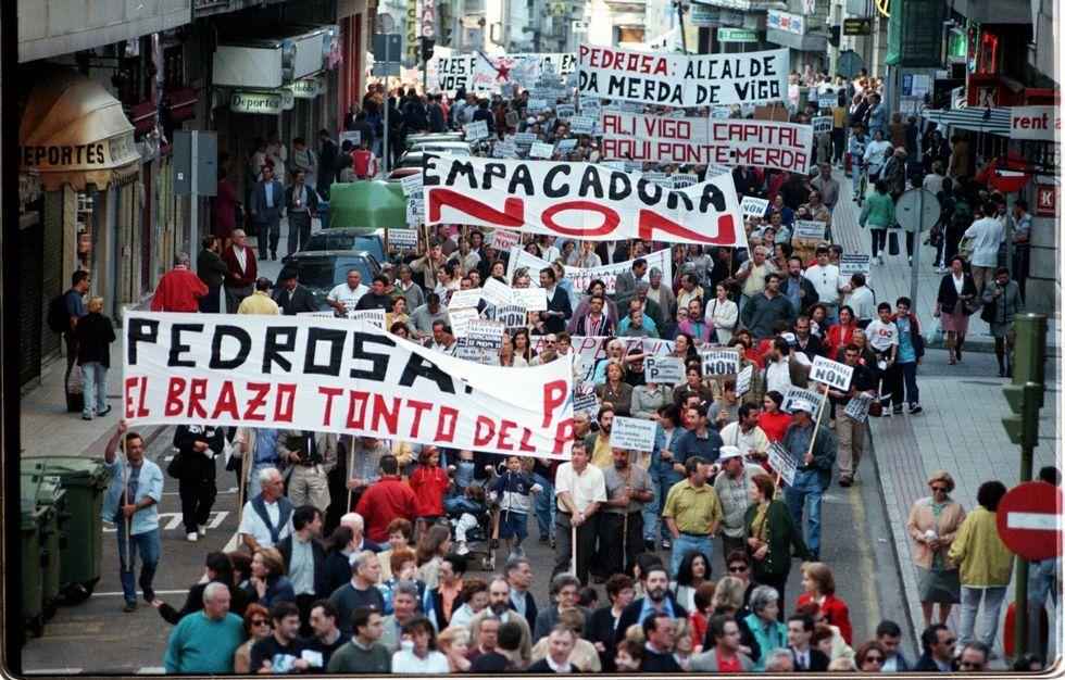 El 5 de junio de 1998 miles de pontevedreses rechazaron la empacadora de Vilaboa.