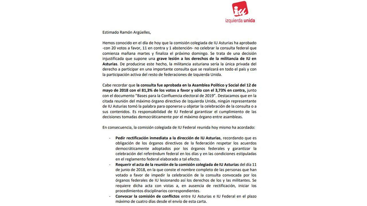 Requerimiento a IU Asturias