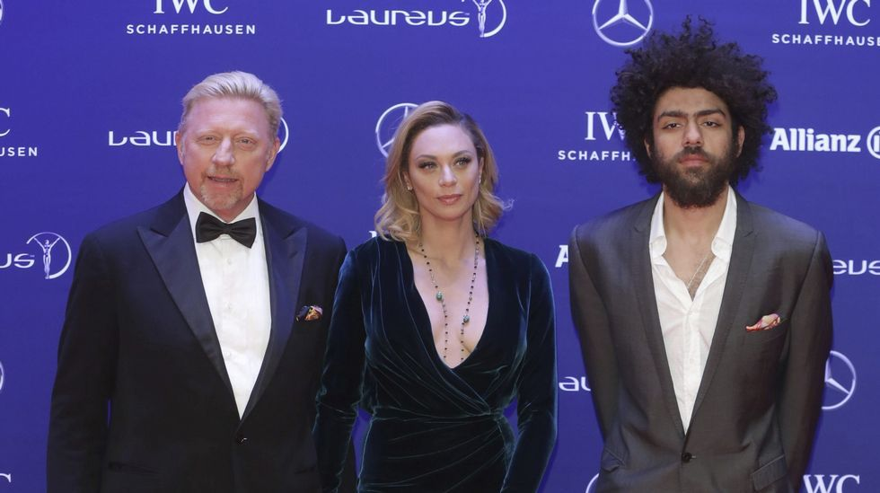 El ex tenista alemán Boris Becker, junto con Lilly y Noah Becker.