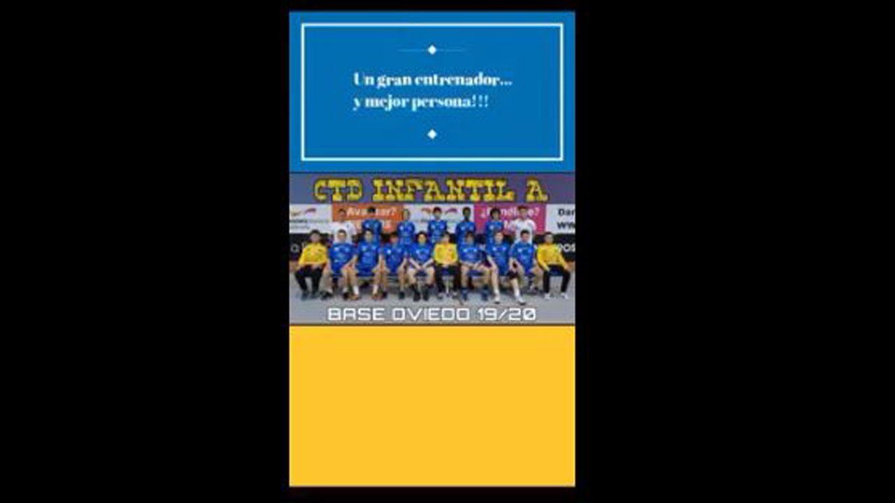 Un mensaje de agradecimiento del balonmano base a su entrenador.Urbanización Valaire, en A Zapateira