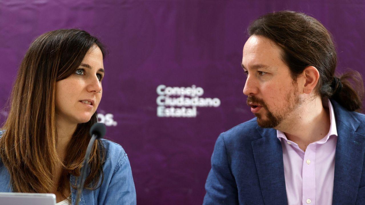 La secretaria de Estadio Ione Belarra y el vicepresidente segundo del Gobierno, Pablo Iglesias en el Consejo Ciudadano de Podemos