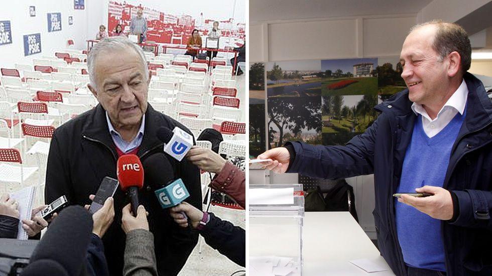 Xaquín Leiceaga gana las primarias del PSdeG frente a Méndez Romeu.Méndez Romeu y Leiceaga votando en A Coruña y en Santiago