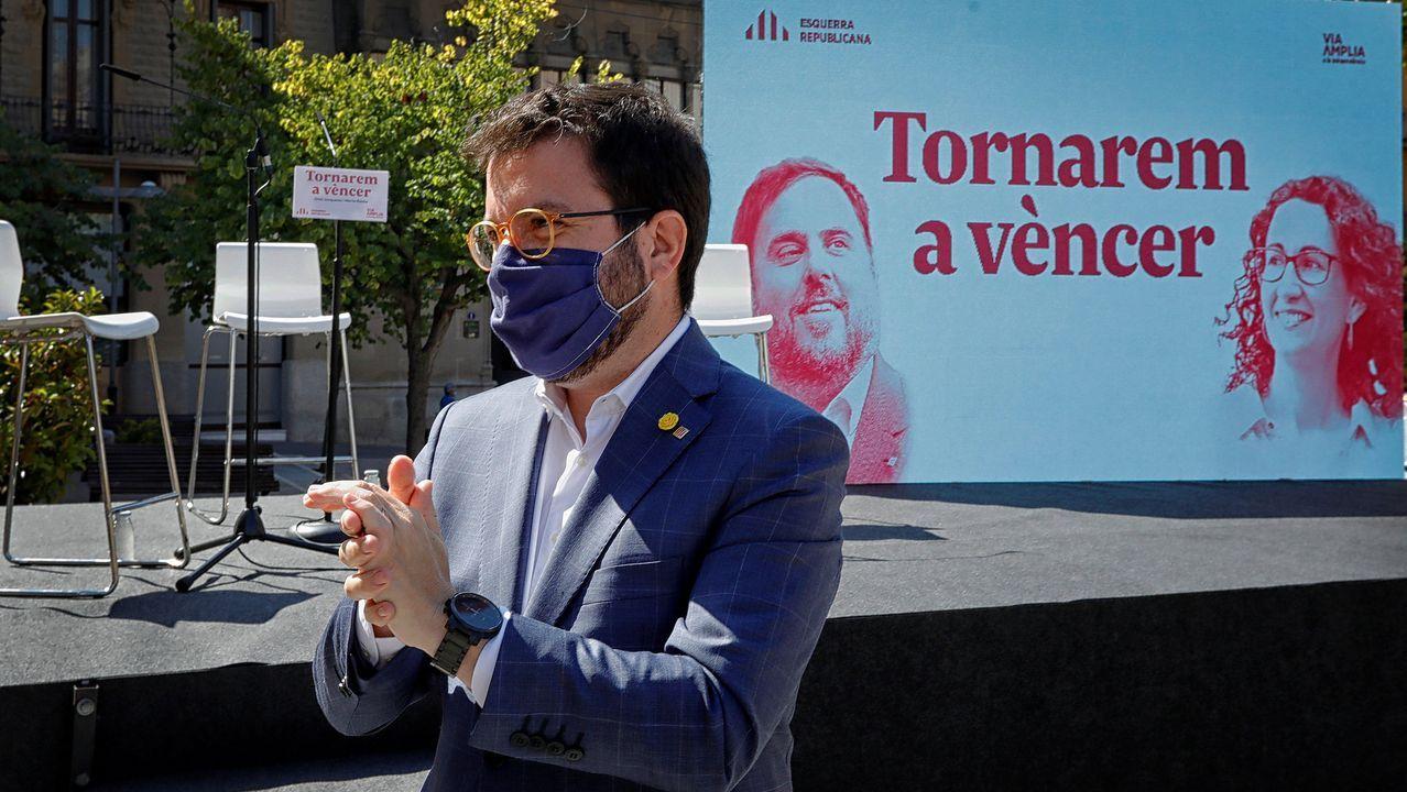 Pere Aragonés, durante la presentación del libro «Tornarem a vèncer» de Rovira y Junqueras, este sábado en Manresa