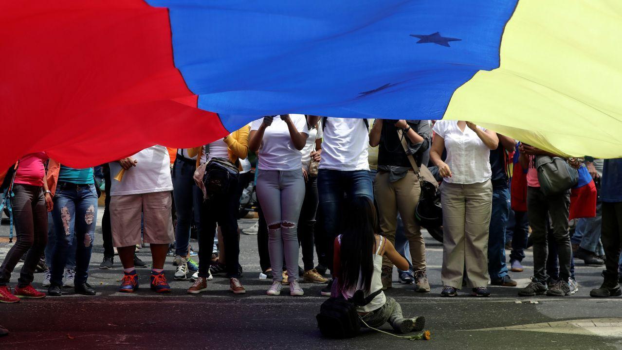 Partidarios de Juan Guaidó, durante una de las marchas convocadas este miércoles