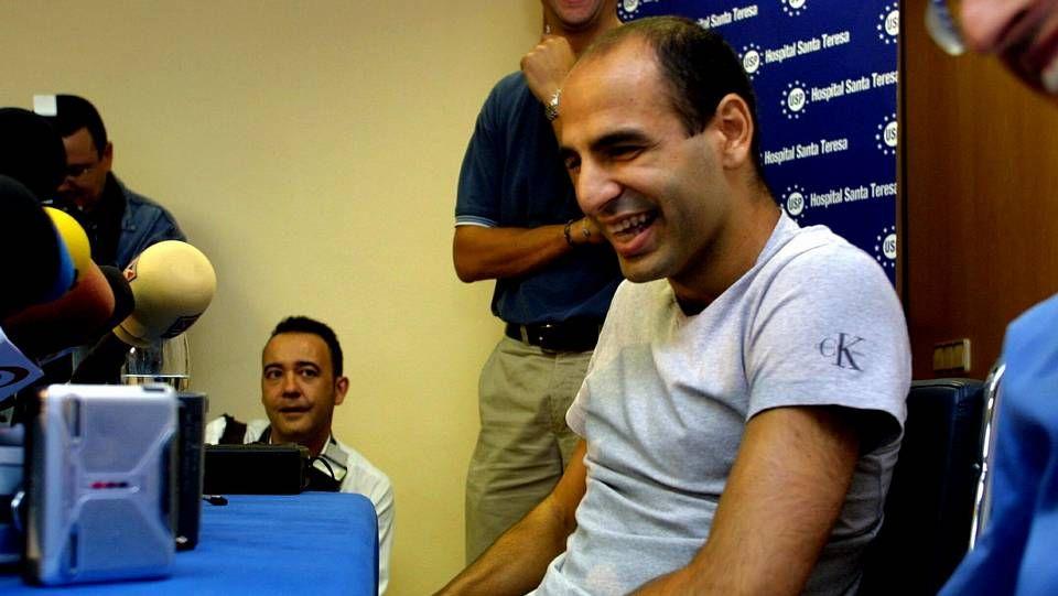 Con Valerón durante la visita del Dépor a Las Palmas.
