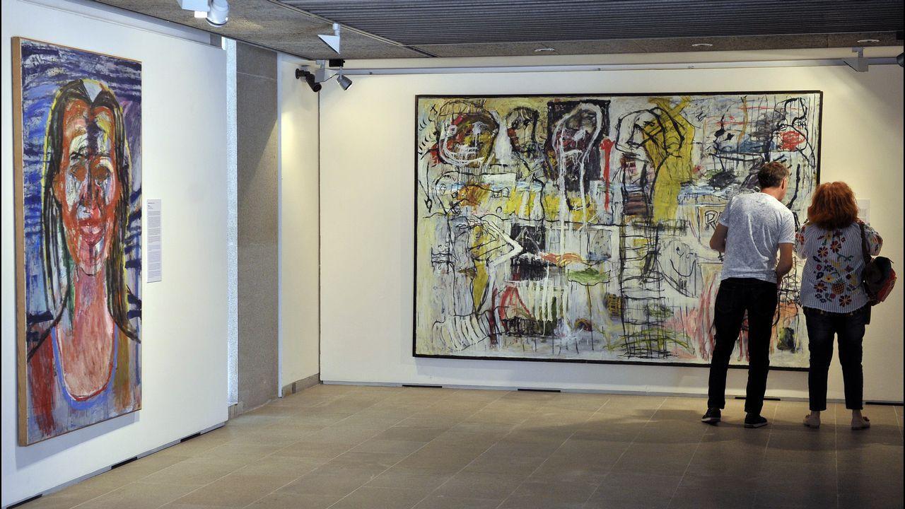 Dos visitantes observan un lienzo en el Museo de Belas Artes de A Coruña