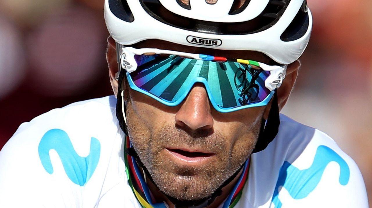El ciclista murciano, campeón del Mundo del equipo Movistar, Alejandro Valverde, a su llegada a la meta de la decimocuarta etapa de la 74 Vuelta a España 2019