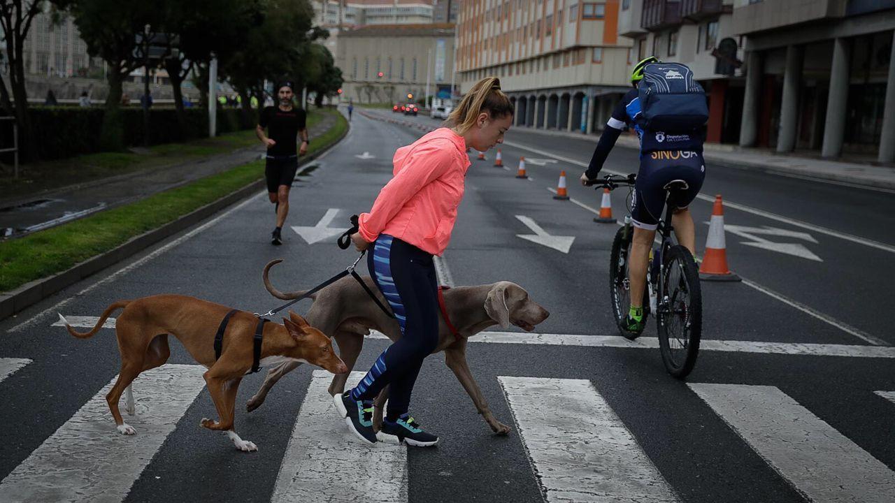 Deportistas y paseantes en el Paseo Maritimo de A Coruña