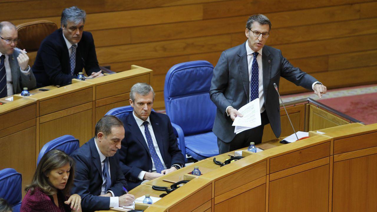 Leiceaga, durante un pleno en el Parlamento de Galicia