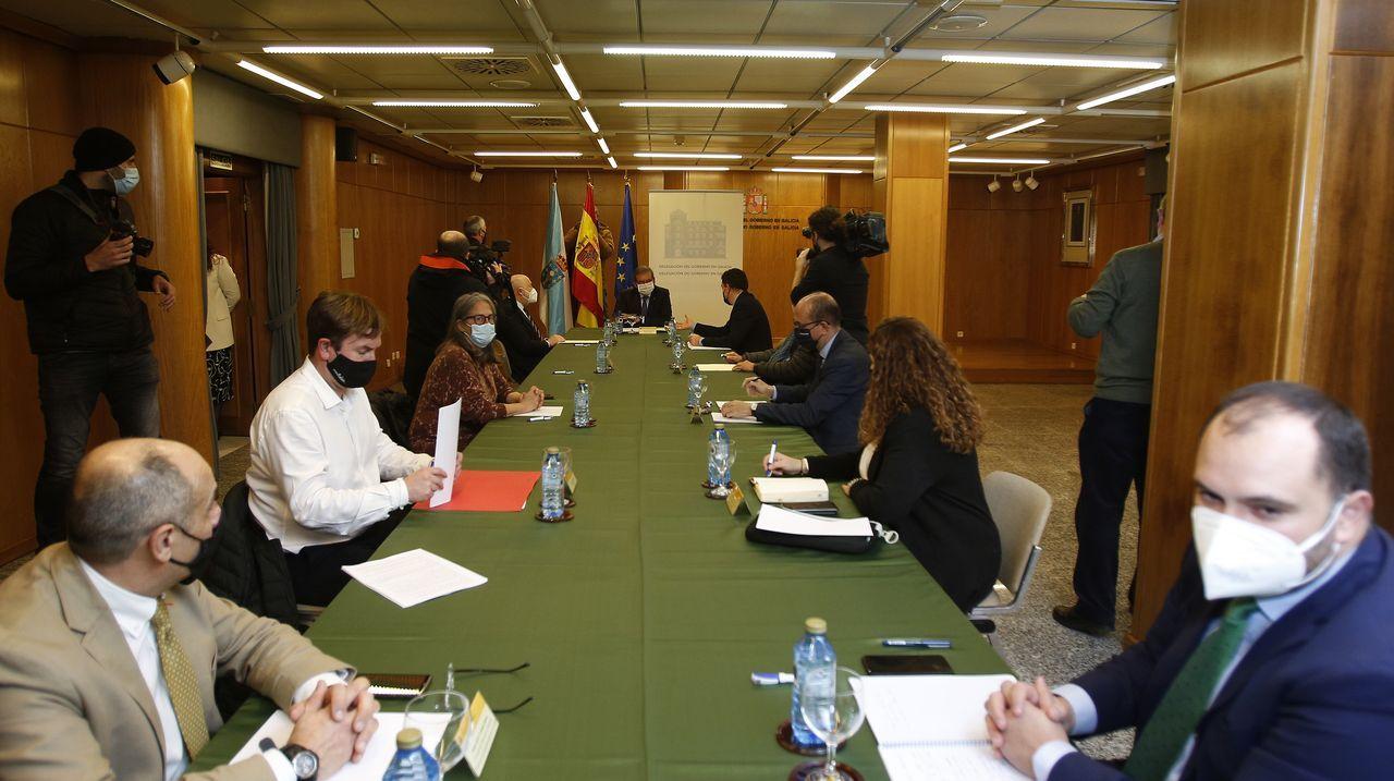Un momento de la reunión de este martes en la que se constituyó la comisión que regirá el futuro inmediato del pazo de Meirás