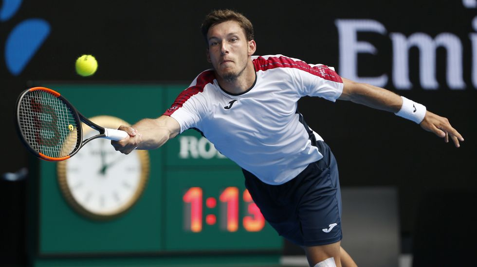Pablo Carreño, en un momento de su partido con Cilic en el Open de Australia