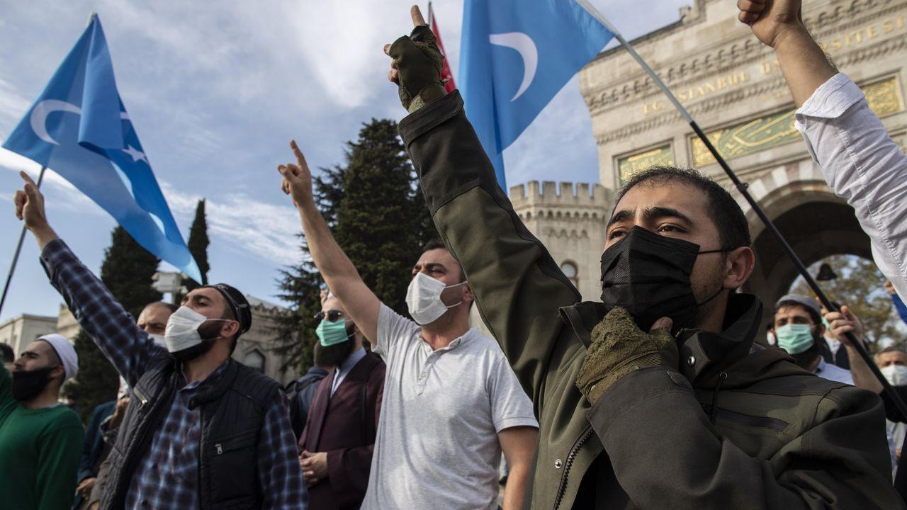 Manifestantes turcos prostestan en Estambul por las medidas adoptadas en Francia contra las asociaciones islamistas