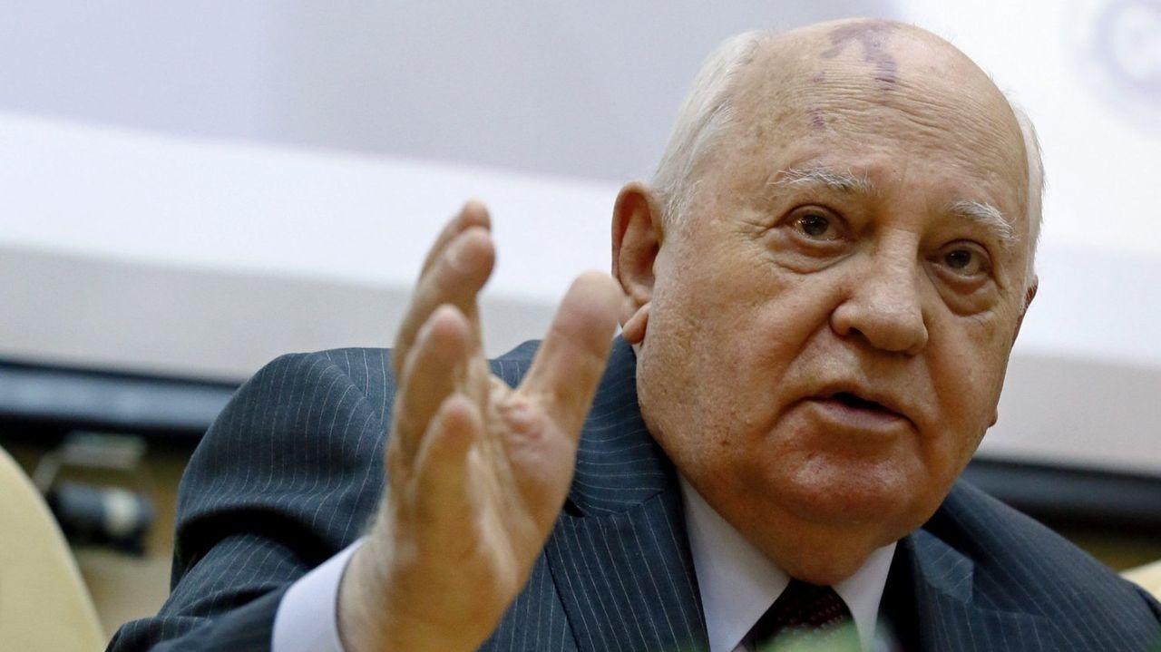 Mijaíl Gorbachov, último líder soviético en una rueda de prensa en el año 2016