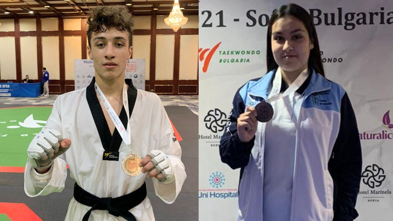 Adrián Salanova, del Maniotas, con su medalla de plata y Nuria Cernadas, del Natural Sport, con la de bronce