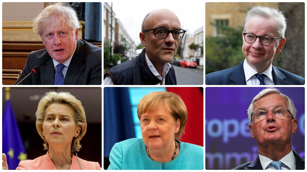 Boris Johnson, Dominic Cummings, Michael Gove, Ursula Von der Leyen, Angela Merkel y Michel Barnier, seis piezas clave en la gestión del «brexit»