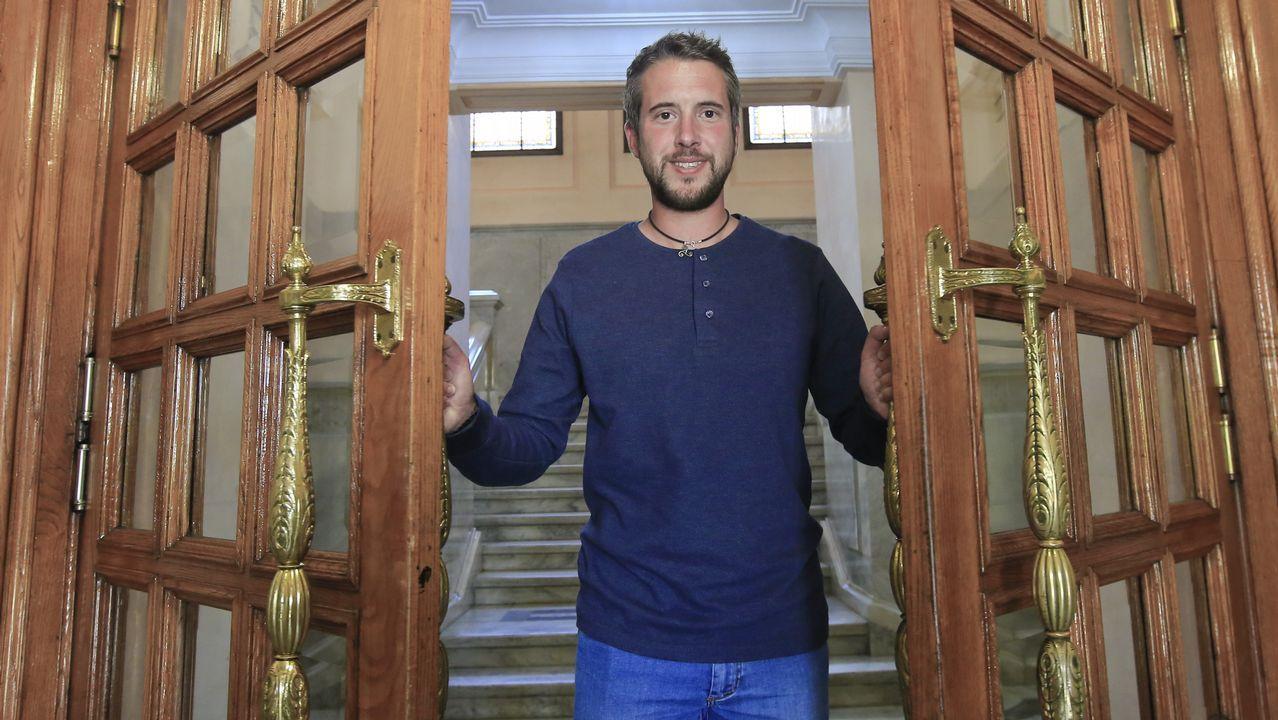 Rubén Arroxo, líder del BNG en Lugo, este lunes a la entrada del Concello