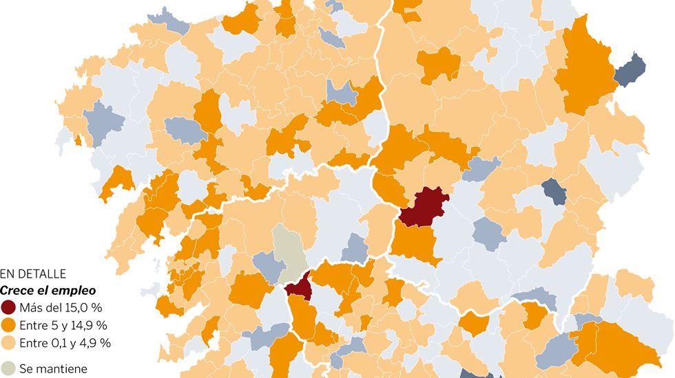Variación del empleo por concellos