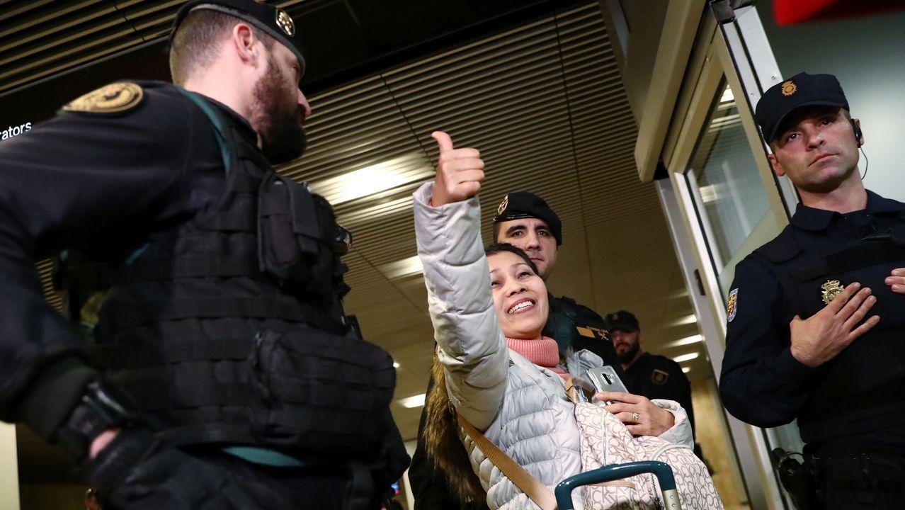 Una de las pasajeras que viajaban en el avión de Air Canada, ya en Barajas