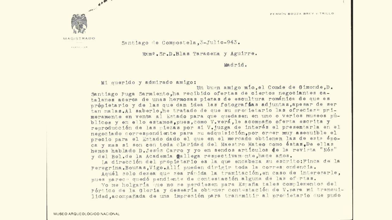 Carta de Bouza Brey a Blas Taracena fechada en 1946 a pesar de que el encabezamiento, por una errata, figura 3-julio-943