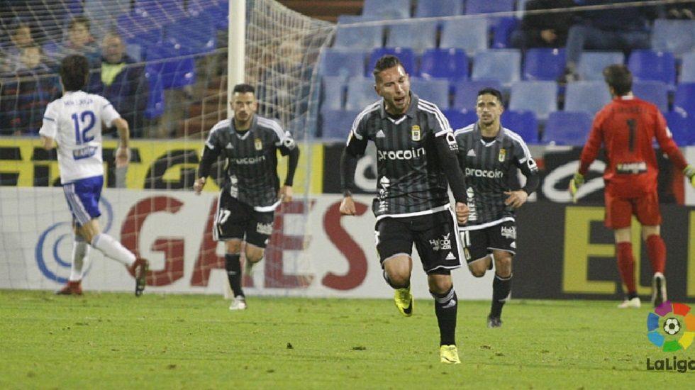 Varela celebra su gol frente al Zaragoza