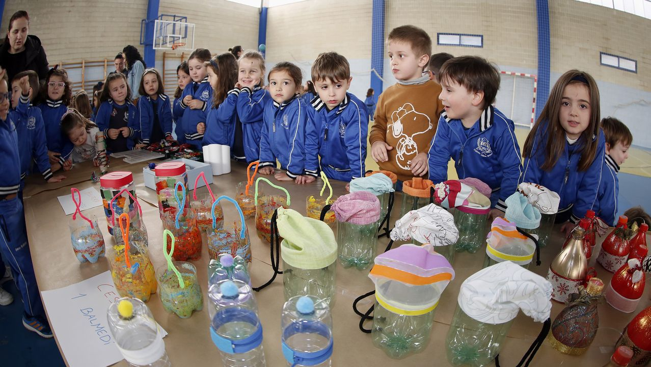 Voz Natura final del colegio Jaime Balmes, entrega de brotes de hortalizas de su huerto escolar 2020.Los alumnos del colegio de Seixalbo, en Ourense, estuvieron plantando en febrero