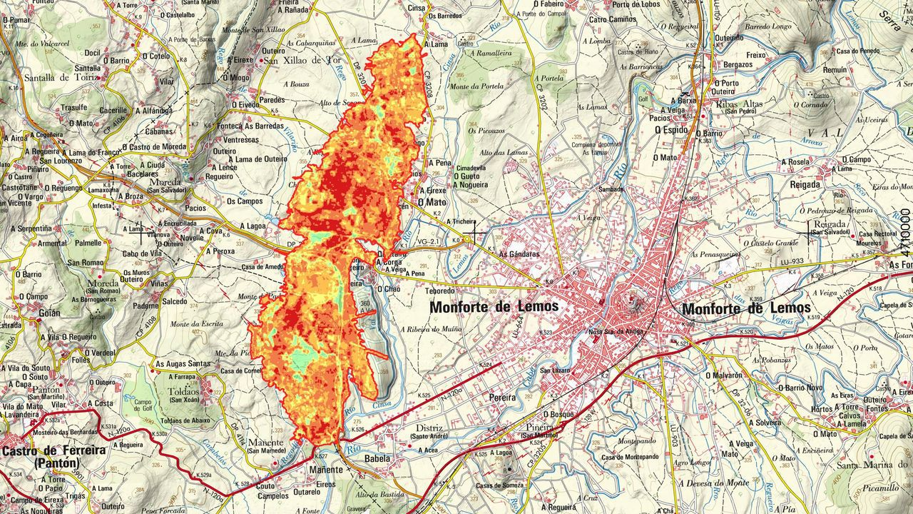 Grados de severidad. Uno de los mapas realizados por el ingeniero forestal Celso Coco indica en qué medida afectó el fuego a la vegetación en las zonas quemadas. El rojo significa muy afectado; el naranja, bastante afectado; el amarillo, levemente afectado y el verde, sin afectar