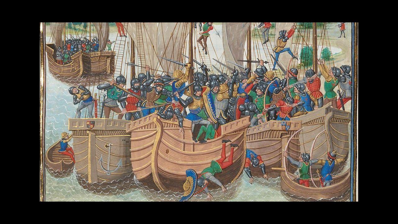 Pintura que recrea el combate de La Rochelle
