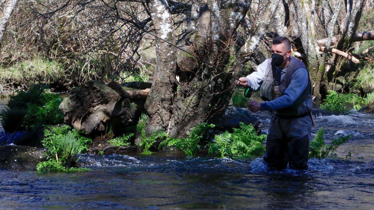 Pescador, en un tramo del río Naria, en Lugo