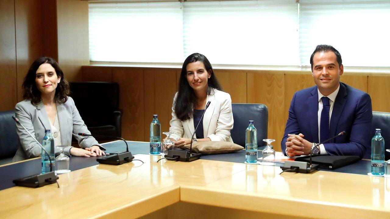 Isabel Díaz Ayuso, Rocío Monasterio e Ignacio Aguado, durante las netgociaciones para formar el Gobierno de la Comunidad de Madrid