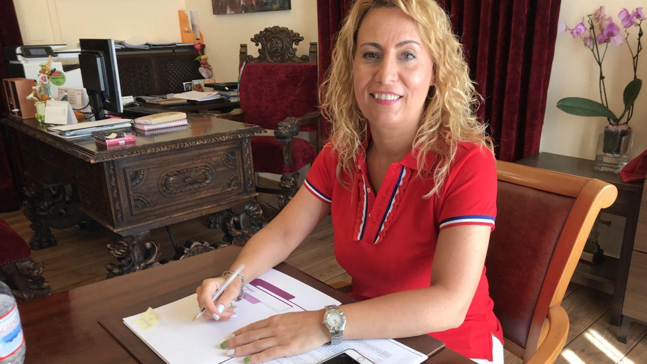 etapa asturias asturiana de La Vuelta.Gema A?lvarez, alcaldesa de Lena