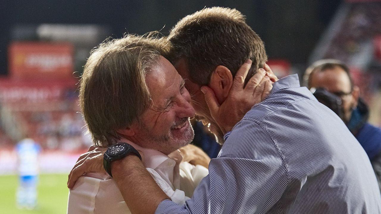 Las mejores imágenes del Deportivo - Almería.Rubén de la Barrera, Martín Lasarte, Fernando Vázquez y José Luis Oltra