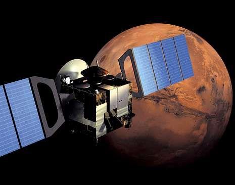 Recreación del acercamiento de la sonda al satélite marciano.