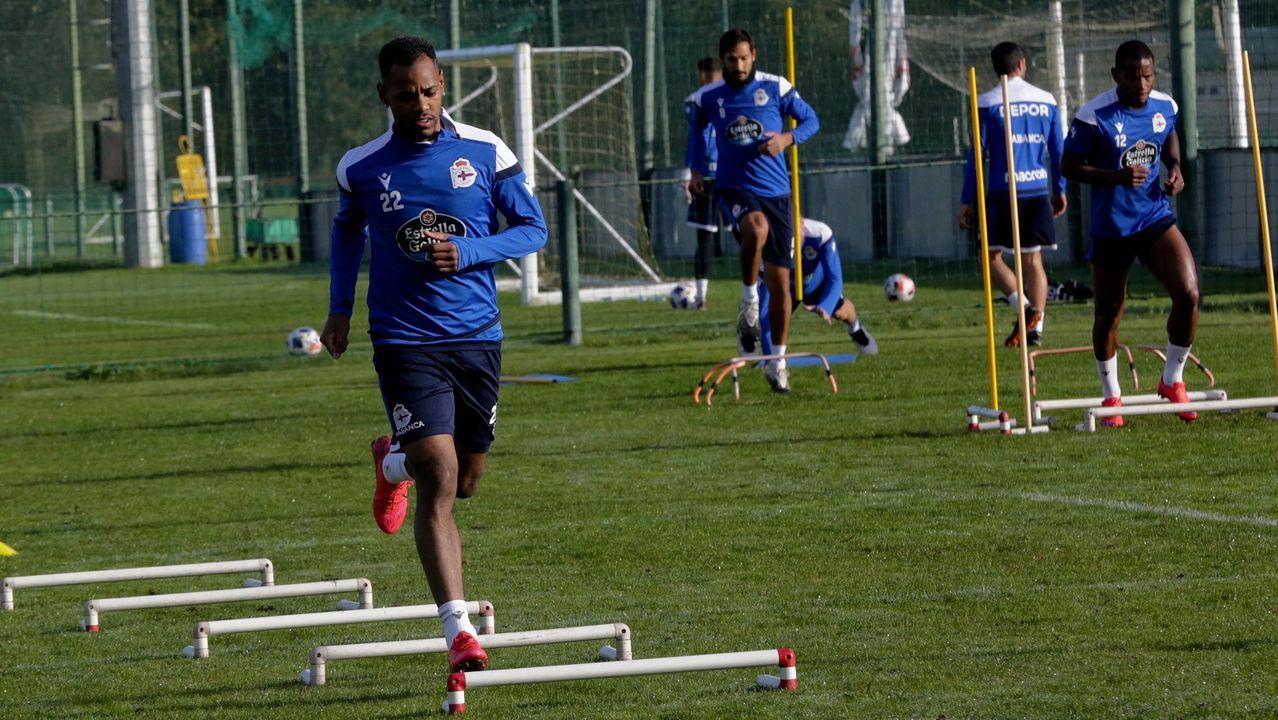 Rolan, en un entrenamiento en Abegondo