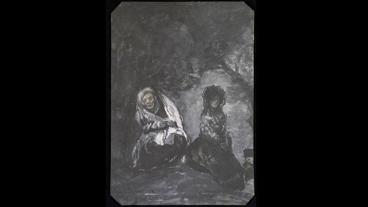 Maja y Celestina en un paisaje de atardecer (1825), de Francisco de Goya y Lucientes. Colección Villagonzalo