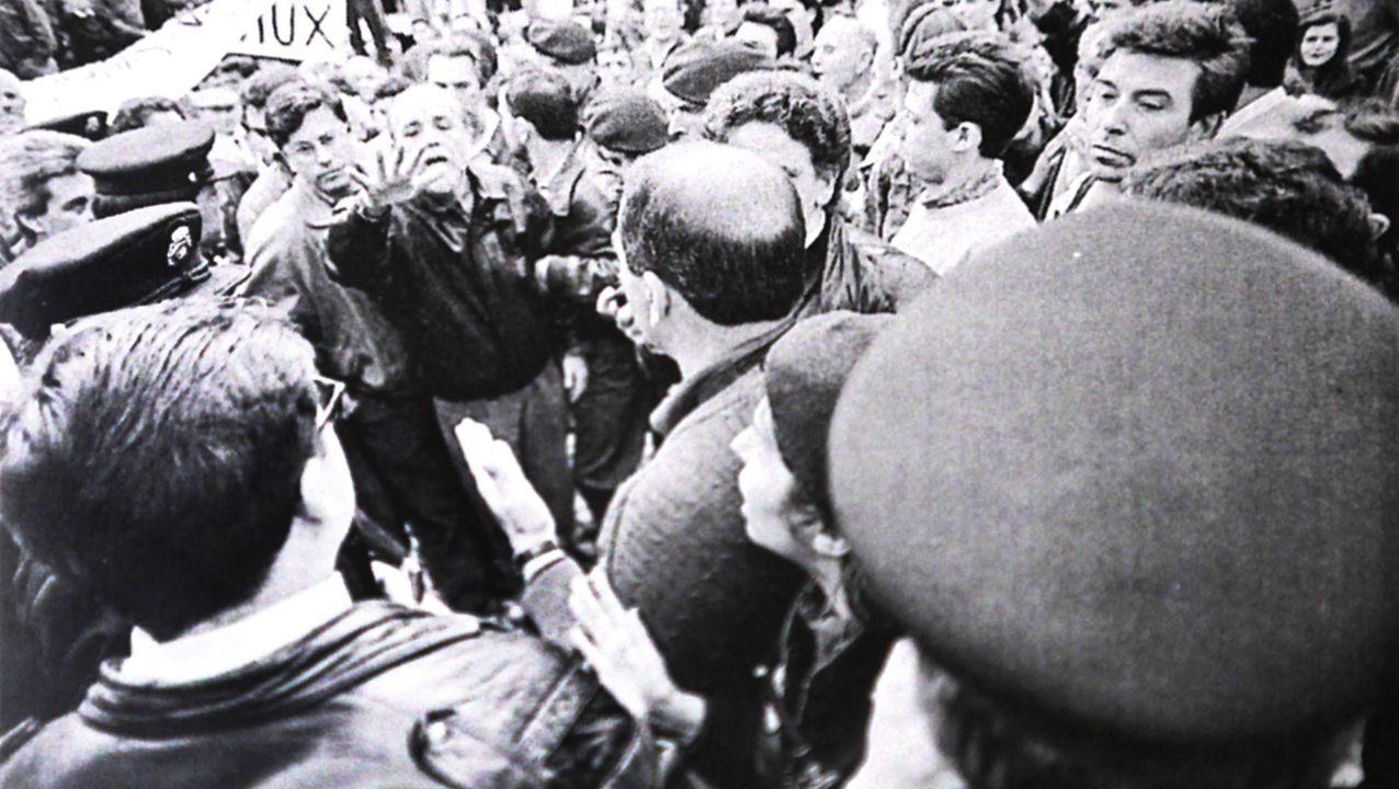 Durante unas protestas vecinales en el año 1991